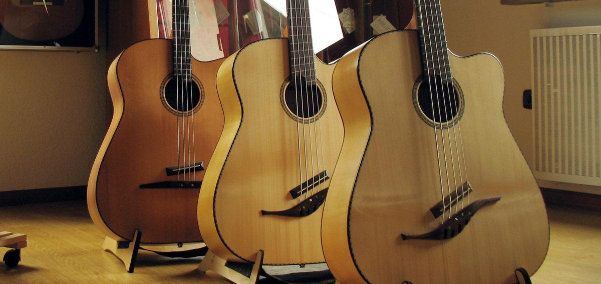 Gitarrenbau Christian Stoll: Akustikbass 4-Saiter 5-Saiter IQ Bass mit fanned frets