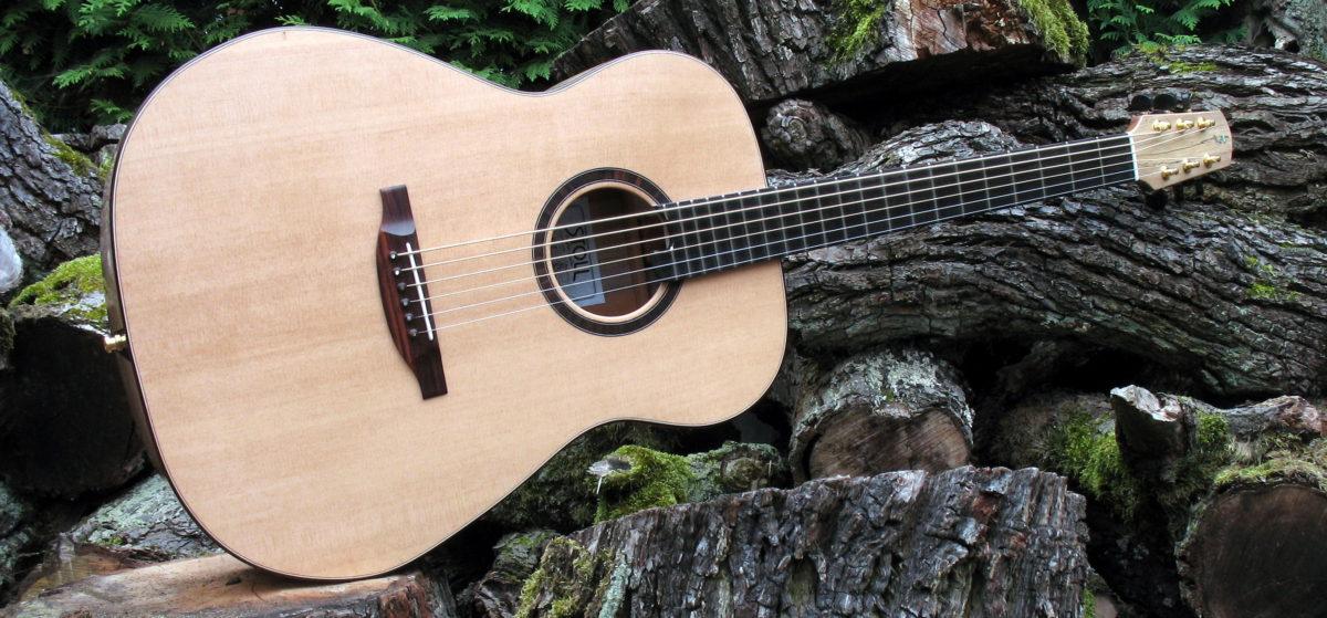 Gitarrenbau Christian Stoll: Ambition Bariton - Walnuss - Stahlsaiten-Gitarre mit Schalloch in der Zarge