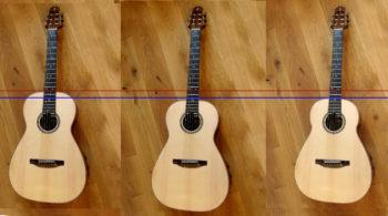 Fotomontage Halsübergang Gitarre vom 12. an den 14. Bund verschieben