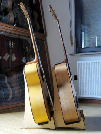 Gitarrenbau Christian Stoll: Akustische Bassgitarre mit Fächerbünden IQ Bass 5-Saiter Walnuss / Fichte Antik