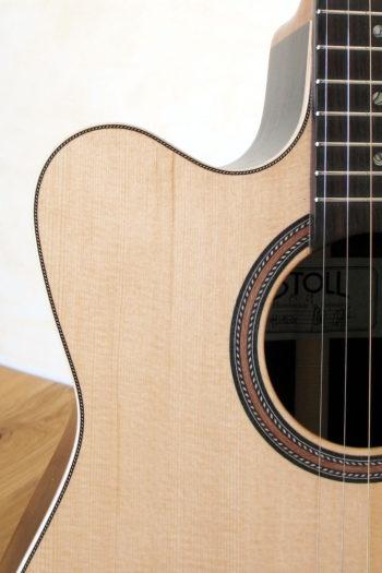 Linkshänder-Stahlsaiten-Gitarre mit Cutaway - Binding