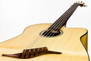 Gitarrenbau Christian Stoll: Akustik-Bass mit Fanned Frets IQ Bass - Steg