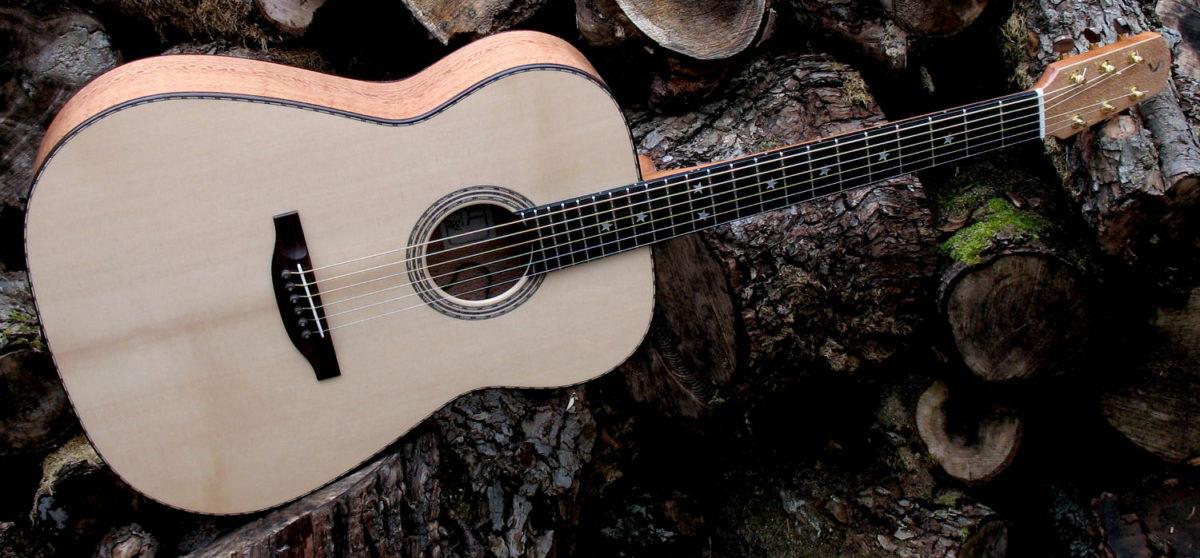 Stahlsaiten-Gitarre mit 3 Tonabnehmern - Ambition Silbereiche - quer