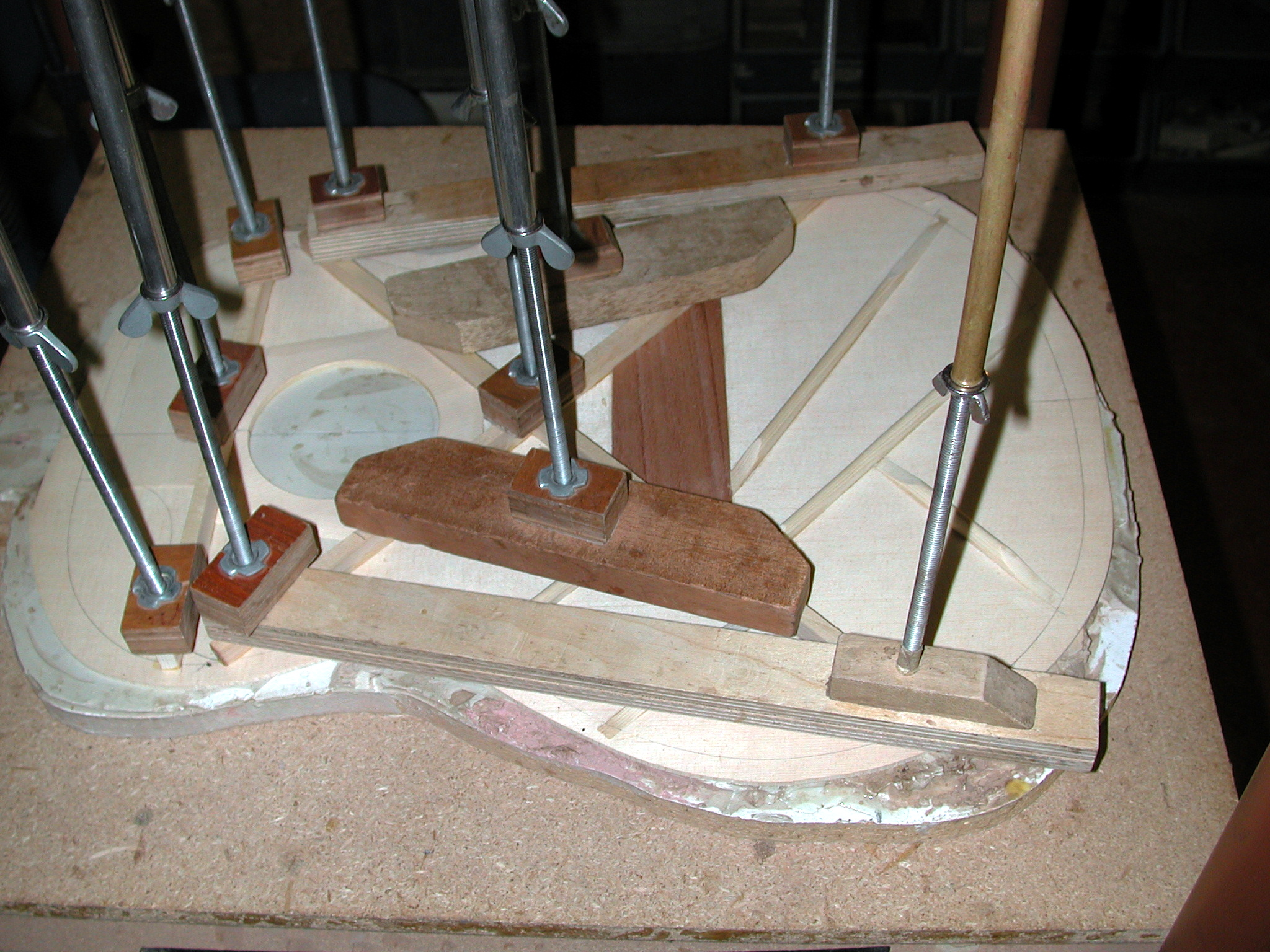 X-Bracing: The bracing is made in three consecutive operations. The x-bracing is the last to be glued.