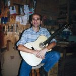 1999: The master in his workshop in Taunusstein-Wehen with a steelstring guitar Stoll PF-C (today Ambitio