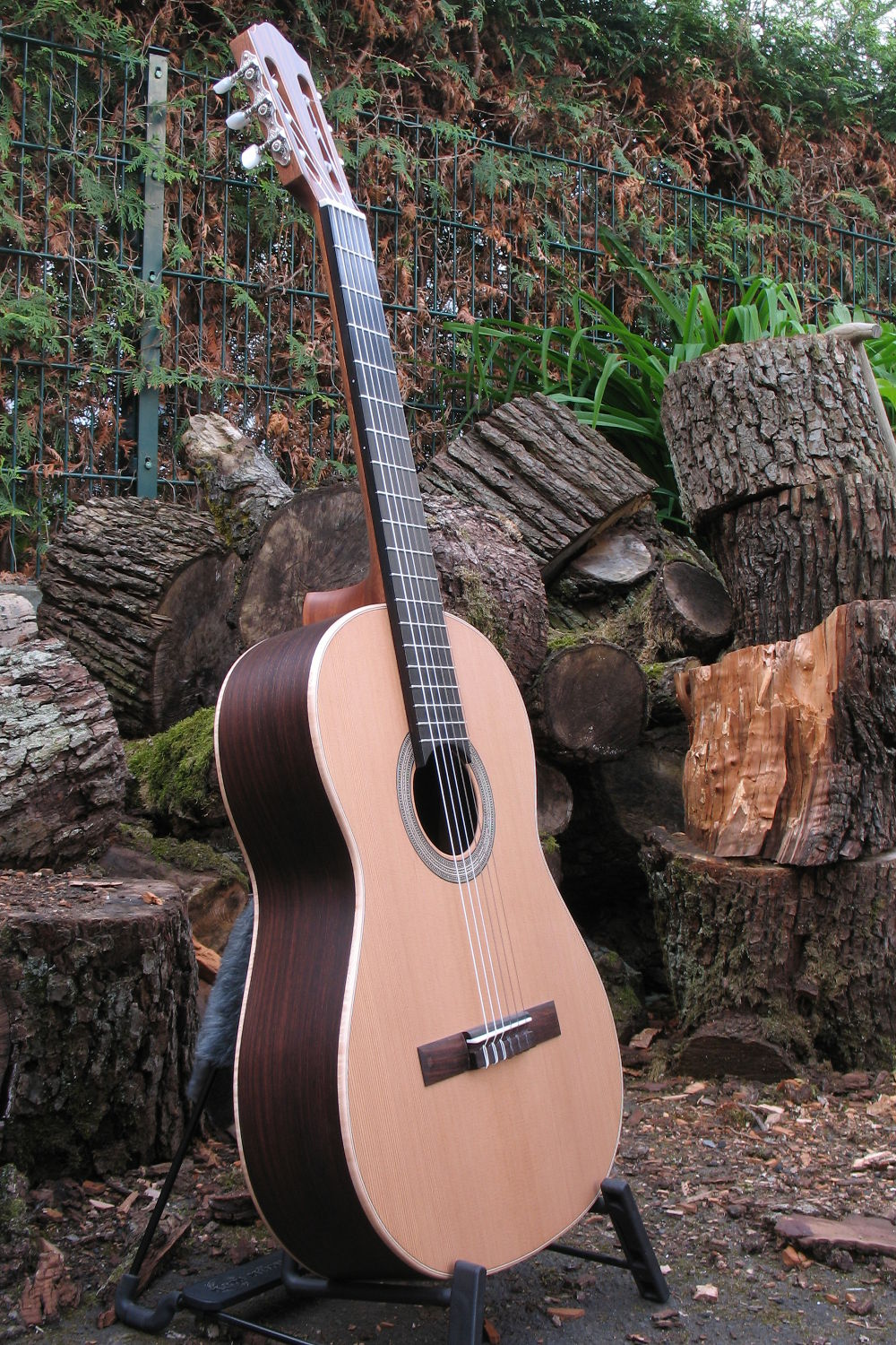 Classical Guitar with Wide Neck, Herringbone Rosette and ...