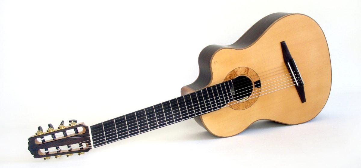 8-string Classical Guitar Cutaway Fanned Frets Pickup