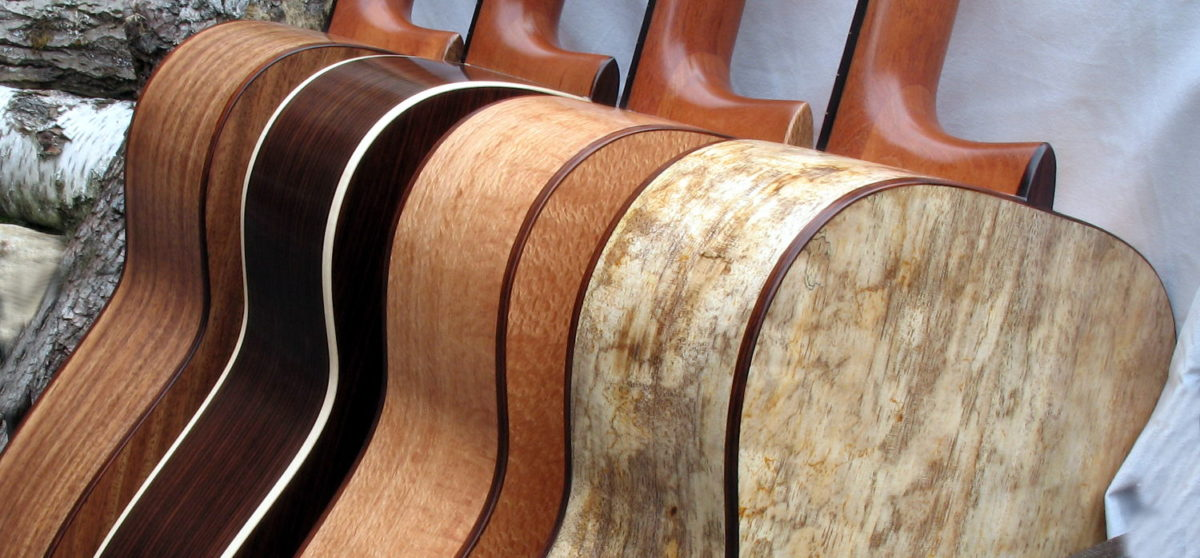 Steel String Guitars of Indian Walnut, Indian Rosewood, Indian Silver Oak and Spalted Mango