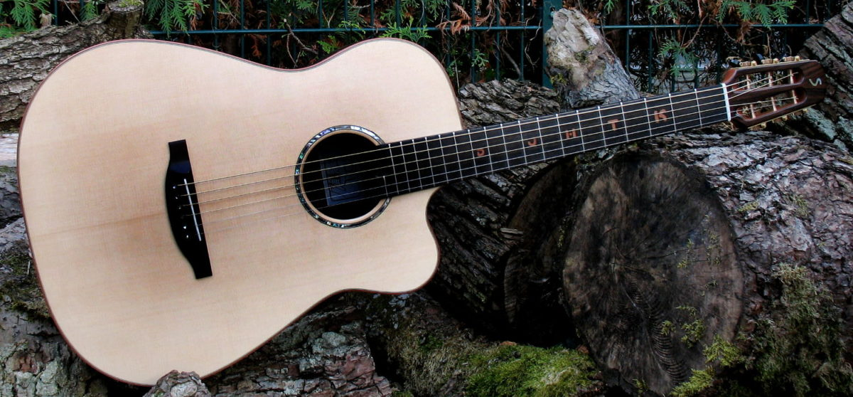 Steel String Guitar Ambition Fingerstyle with Cutaway, Fretboard Inlays made of Pear