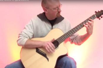 video Jumbo steel string guitar IQ fanned frets side sound hole bevel